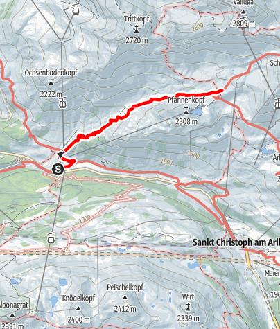 Karte / Ulmer Hütte - Zustieg von der Alpe Rauz