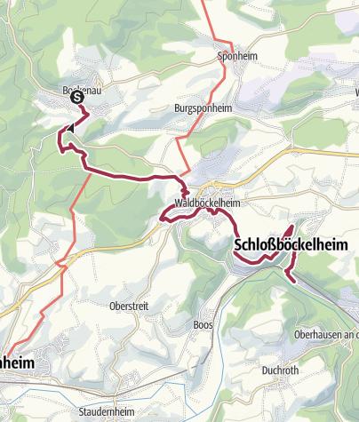 Map / von Bockenau zum Niederthälerhof - rotes Kreuz (oder in umgekehrter Richtung)