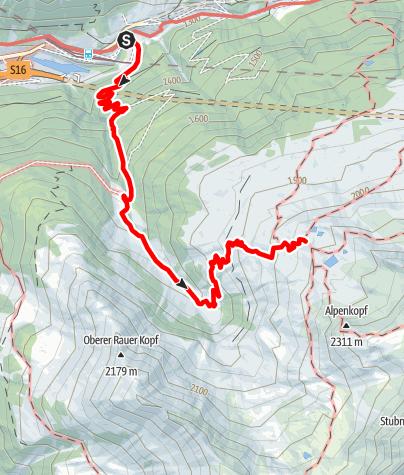 Karte / Kaltenberghütte - Zustieg von Langen am Arlberg über die Bludenzer Alpen