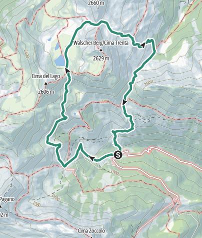 Cartina / Escursione al Lago Trenta nel cuore selvaggio del Gruppo delle Maddalene