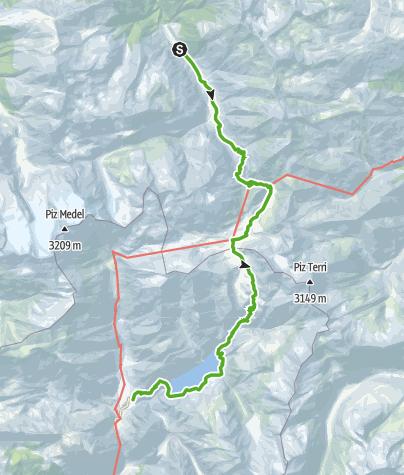Karte / 2-Tagestour in die Greina Hochebene