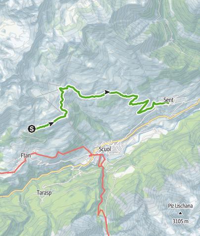 Map / Via Engiadina trek, 4th stage Scuol-Sent