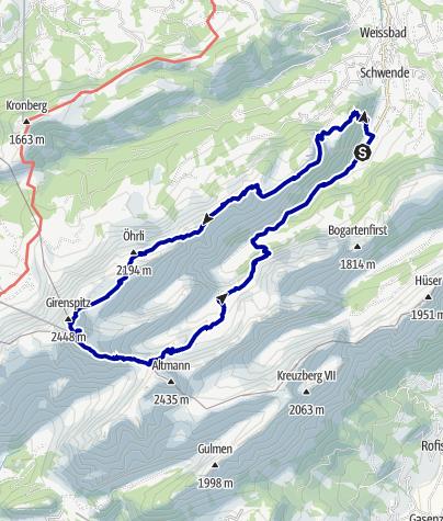 Kaart / 2tägige Alpsteinwanderung / Säntis