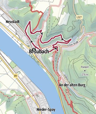 Kaart / Burgenweg in Braubach