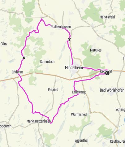 Karte / Rennradtour durchs Unterallgäu
