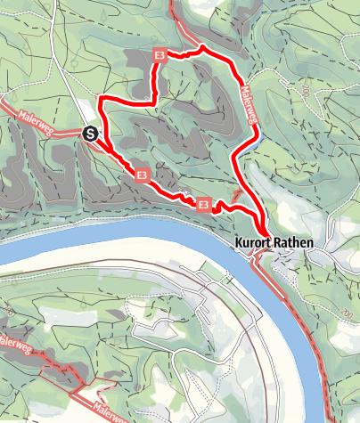 Karte / Rundweg: Bastei - Schwedenlöcher - Kurort Rathen - Bastei