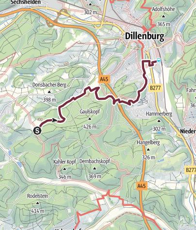Karte / Rothaarsteig Teilstück 8 Eingangsportal Dillenburg Süd
