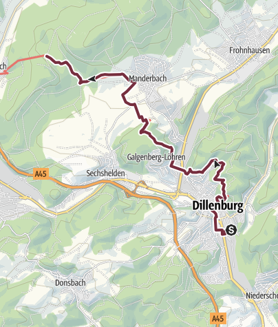 Karte / Rothaarsteig Teilstück 9 Eingangsportal Dillenburg Nord