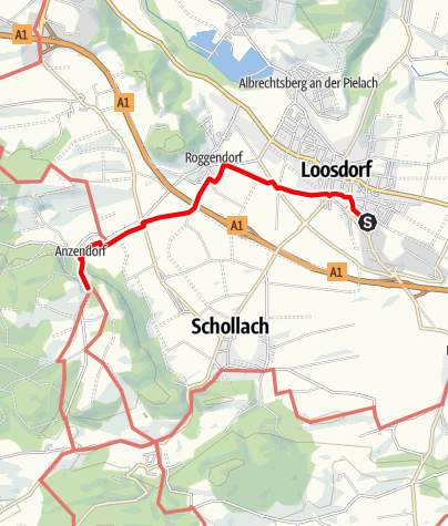 Karte / Verbindungsweg Schallaburg-Bahnhof Loosdorf