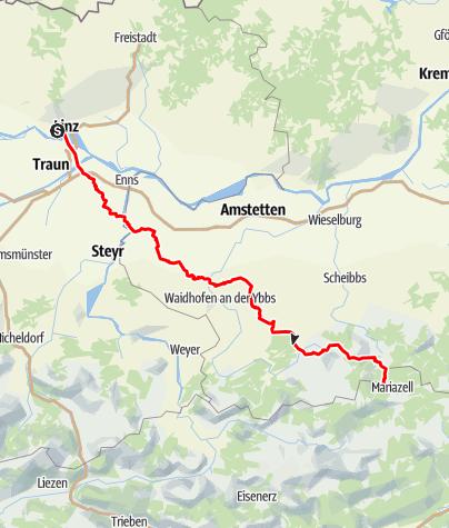 Karte / OÖ Mariazellerweg: C: Route über Sonntagberg und St. Leonhard im Wald - 7 Tagesetappen