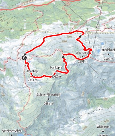 Karte / Rundwanderung Maroiköpfe-Albonagrat