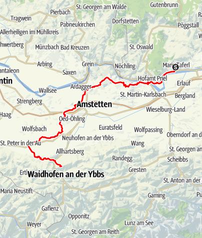 Map / Sonntagbergweg: Gesamtverlauf von Maria Taferl nach Sonntagberg