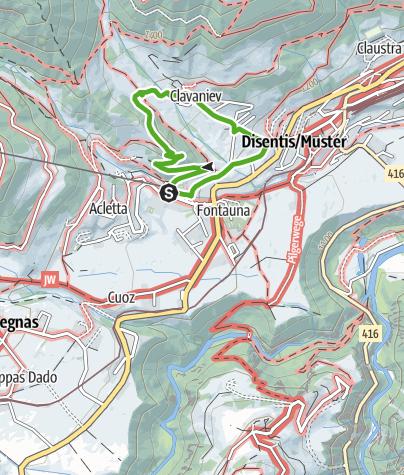 Karte / Spaziergang zu den Wasser-Rädli in Clavaniev