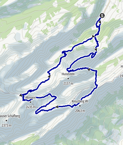 Kaart / Wasserauen-Rotsteinpass-Wasserauen