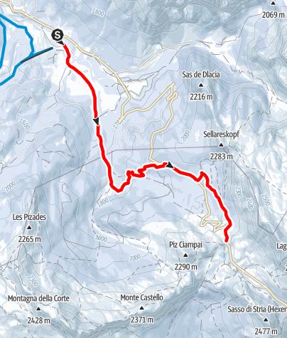Kaart / Schneeschuhwanderung von San Cassiano zur Valparola Alm
