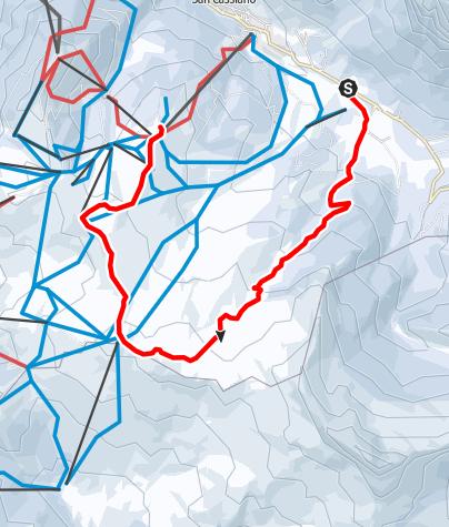 Mapa / Schneeschuhwanderung durch die Störes Wiesen bis Piz Sorega
