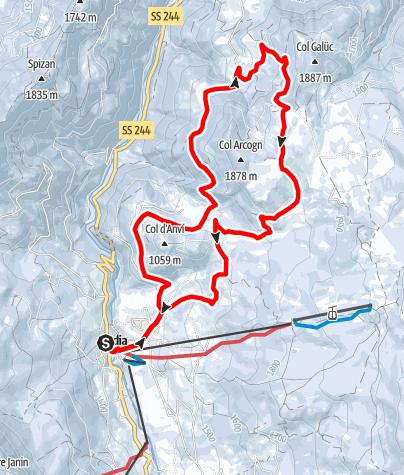 Mapa / Schneeschuhwanderung durch die Armentara Wiesen