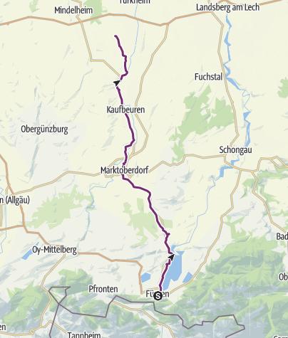 Karte / Radrunde Allgäu - Etappe Füssen - Bad Wörishofen