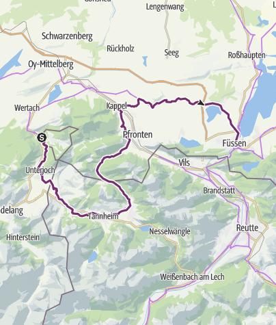 Karte / Radrunde Allgäu - Etappe Jungholz - Füssen
