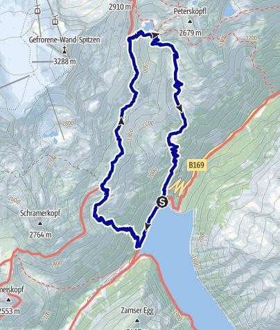 Kaart / Schlegeisstausee - Olpererhütte - Friesenberghaus - 14 km
