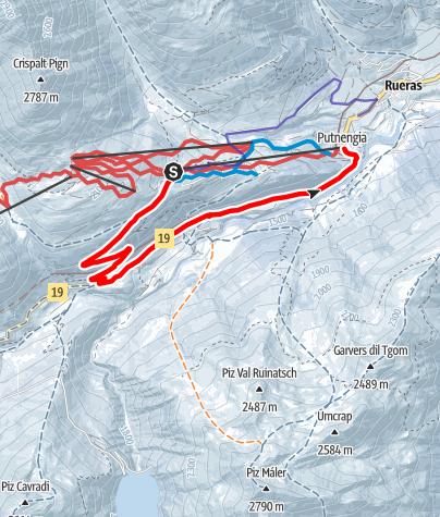 Karte / Talwanderung Milez - Tschamut - Dieni