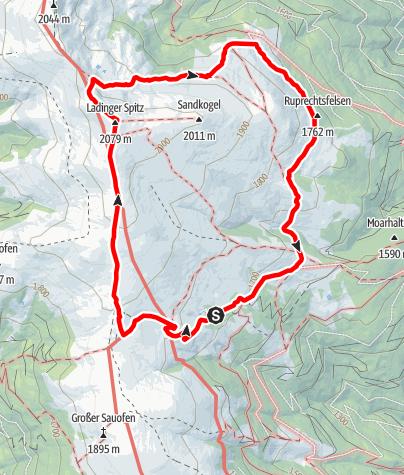 Karte / Zur Ladingerhütte über Wolfsberger Hütte, Zingele Kreuz und Ladinger Spitz