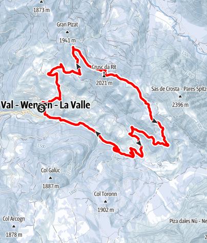 Mapa / Winterwanderung von La Val über die Rît Wiesen