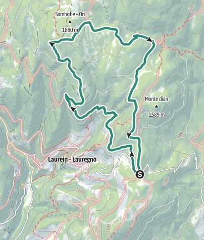 Karte / Wanderung um die Südtiroler Almhütten in den Magdalener Bergen