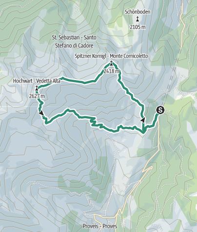 Karte / Rundwanderung mit Besteigung des Kornigls, der Schöngrub und der Ultner Hochwart in den Magdalener Bergen