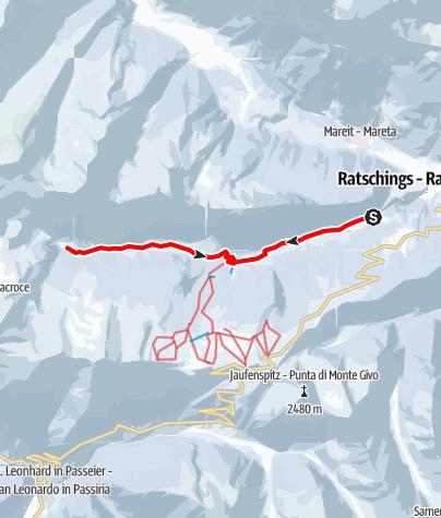 Mapa / Winterwanderung nach Flading im Talschluss von Ratschings