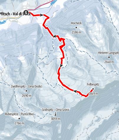 Mappa / Escursione sci d'alpinismo: Cima Felbe / Val di Vizze