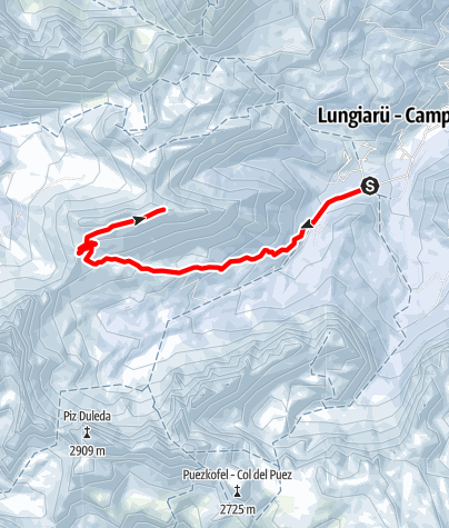 Map / Snow shoe hike from Pares across Furcela de Furcia to Juvac