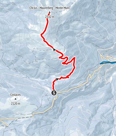 Kaart / Schneeschuhwanderung von Pé de Börz auf den Maurerberg