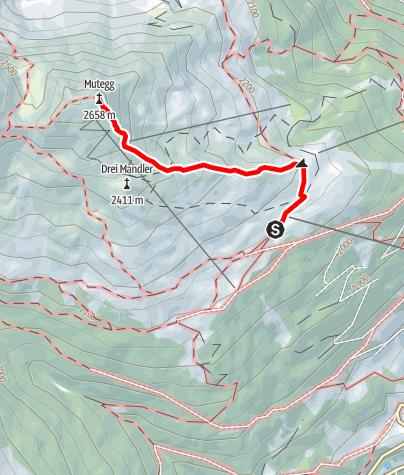 Map / Von der Schwemmalm auf das Mutegg