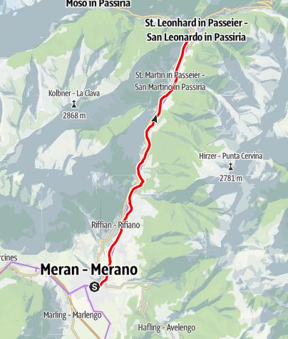 Karte / Radweg Passeiertal (Meran-St. Leonhard)