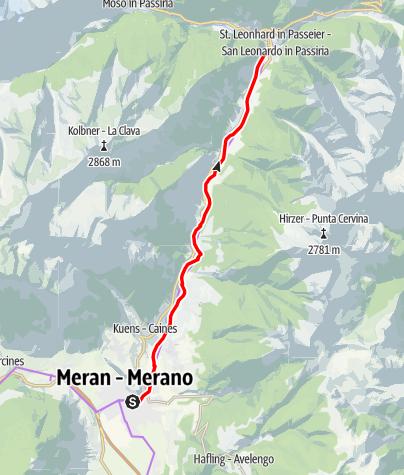 Kaart / Radweg Passeiertal (Meran-St. Leonhard)