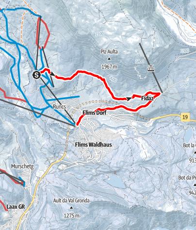 Map / Foppa - Spalegna - Scheia - Fidaz - Flims