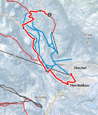 Karte / Naraus - Startgels - Runcahöhe - Flims