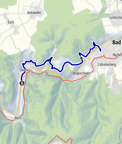 Karte / Rotweinwanderweg: Von  Dernau nach Ahrweiler