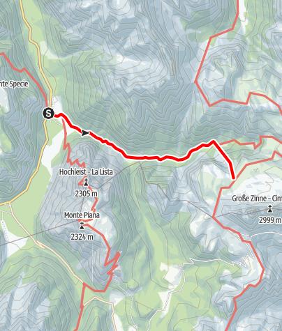 Cartina / Escursione estiva: Vista Tre Cime - Malga Langalm