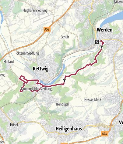 Karte / Wanderung Essen-Werden nach Essen-Kettwig