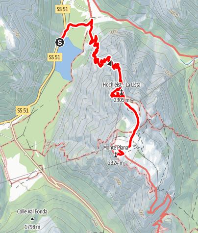 Cartina / Escursione estiva: Lago di Landro - Monte Piano