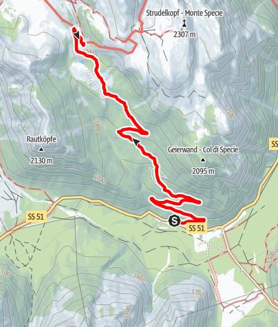 Map / Summer hiking tour: Carbonin/Schluderbach - Rifugio Vallandro/Dürrensteinhütte hut