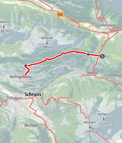 Karte / Vom Kristberg zum historischen Bergwerk Bartholomäberg
