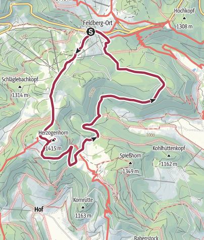 Karte / Höhenmeter auf dem Herzogenhorn