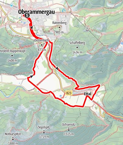 Karte / Wanderung - Rund um Kloster Ettal