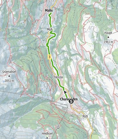 Kaart / Churwalden - Strassberg - Eggatobelbrücke