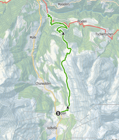 Map / The Roman connecting path over Parpan – Joch – Runcalier – Passugg