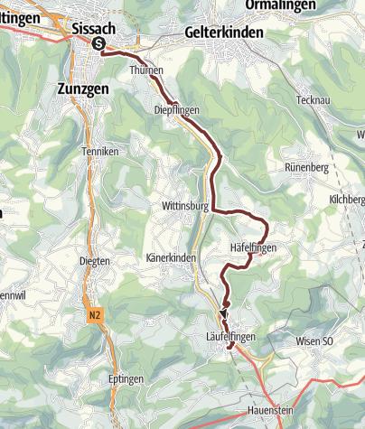 Karte / Tagespilgern 2019 Etappe 2 Sissach - Läufelfingen