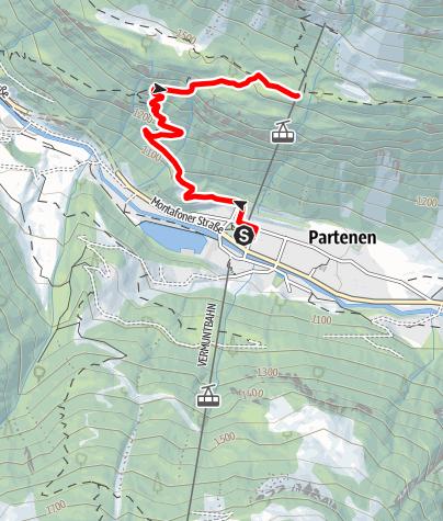 Karte / Tafamunt - Montafoner Berglauf - von der Talstation zur Bergstation (Alpstöbli 1.550m)